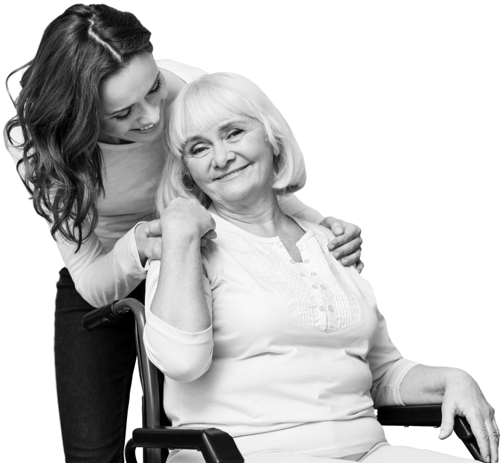 caregiver smiling to a senior woman